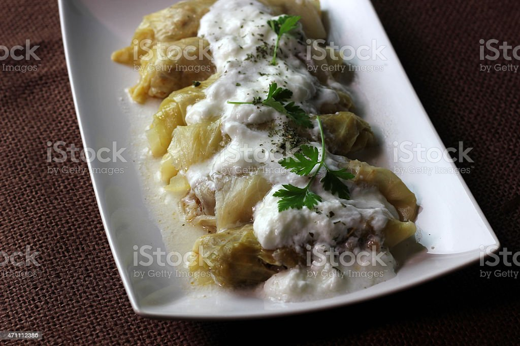 Stuffed cabbage with parsley stock photo