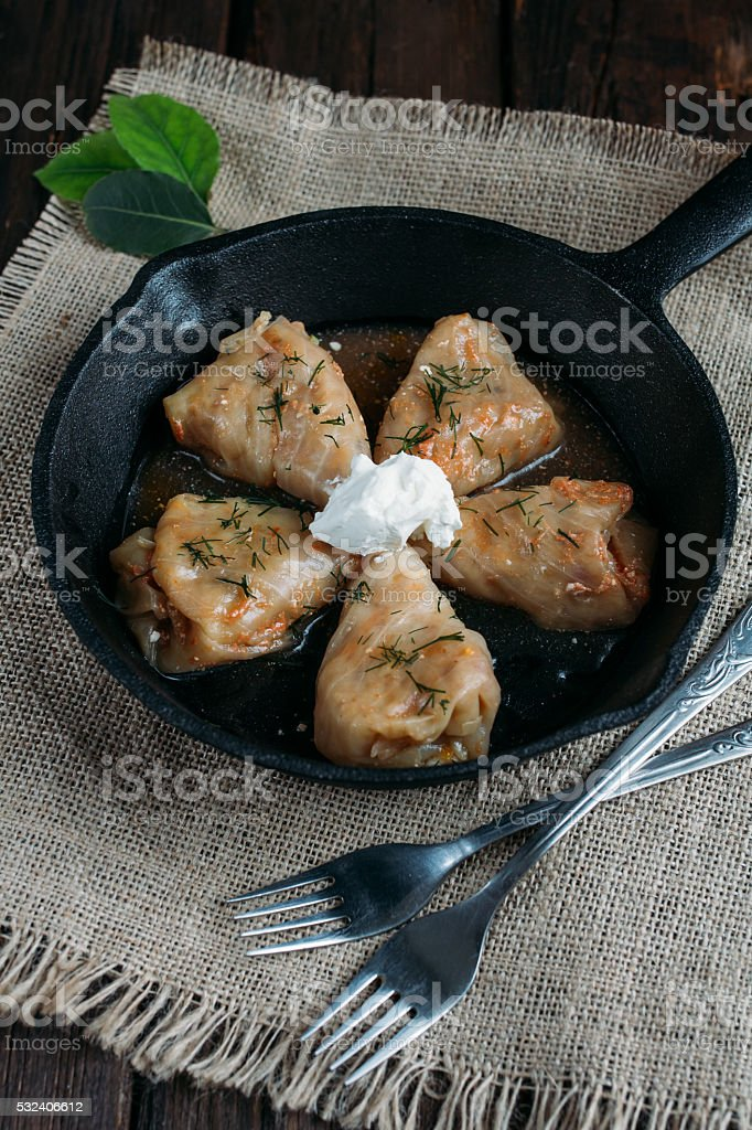 Stuffed cabbage with rice and meat stock photo