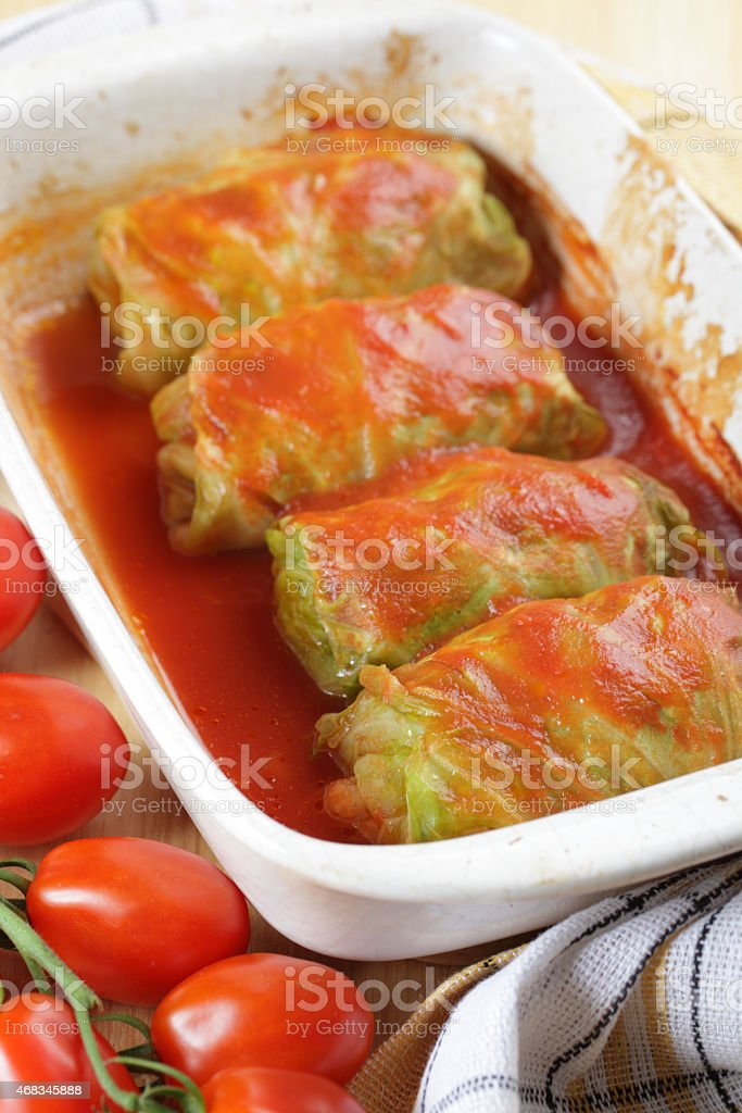 Stuffed cabbage with tomato sauce stock photo