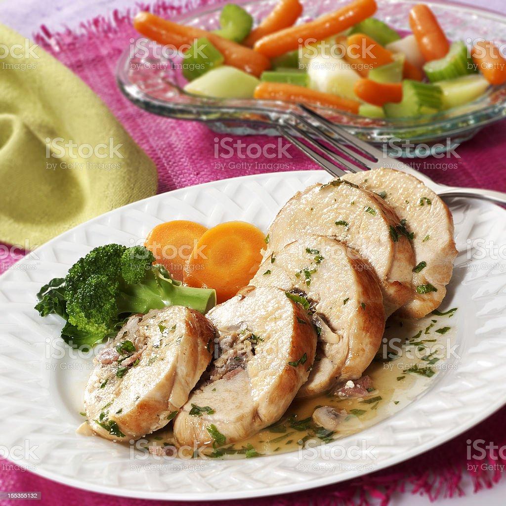 Stuffed chicken breast stock photo