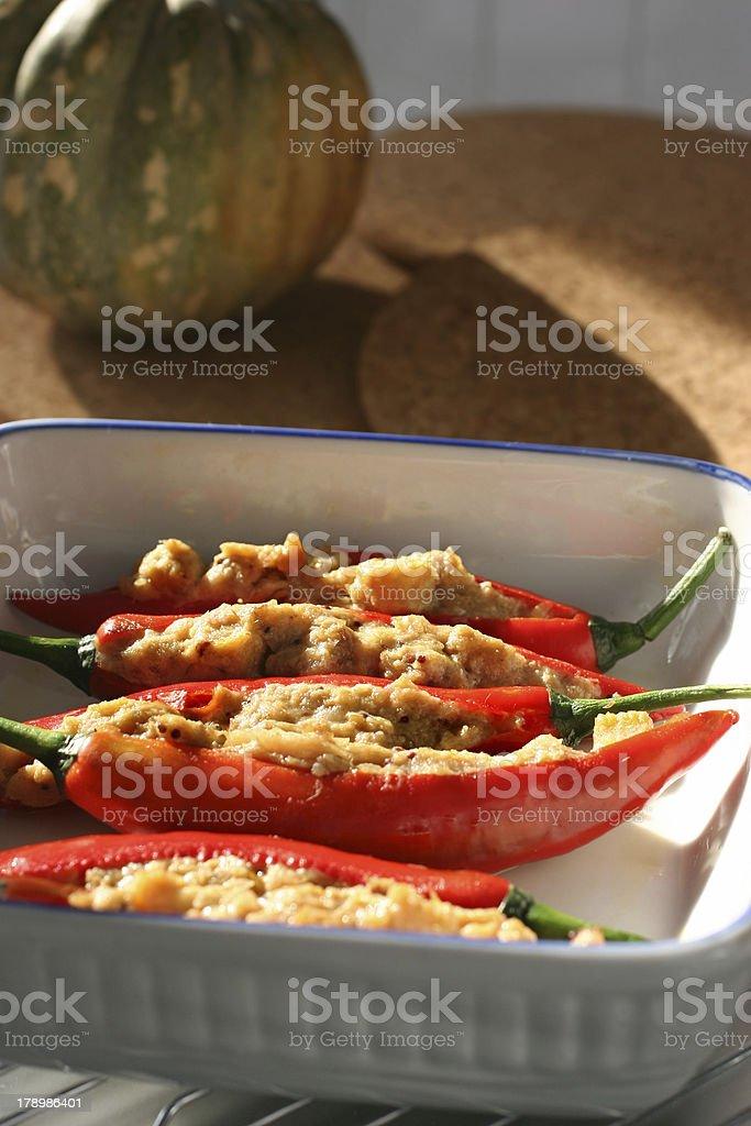 Stuffed chilis royalty-free stock photo
