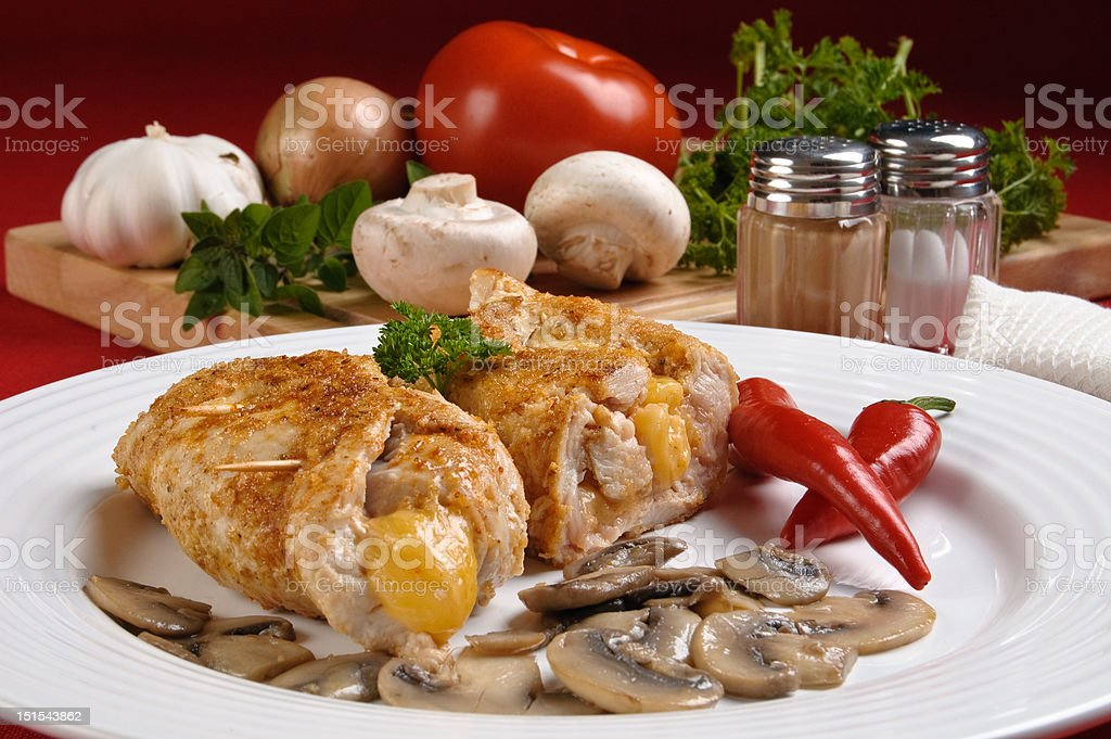 Stuffed chop porks with cheese royalty-free stock photo
