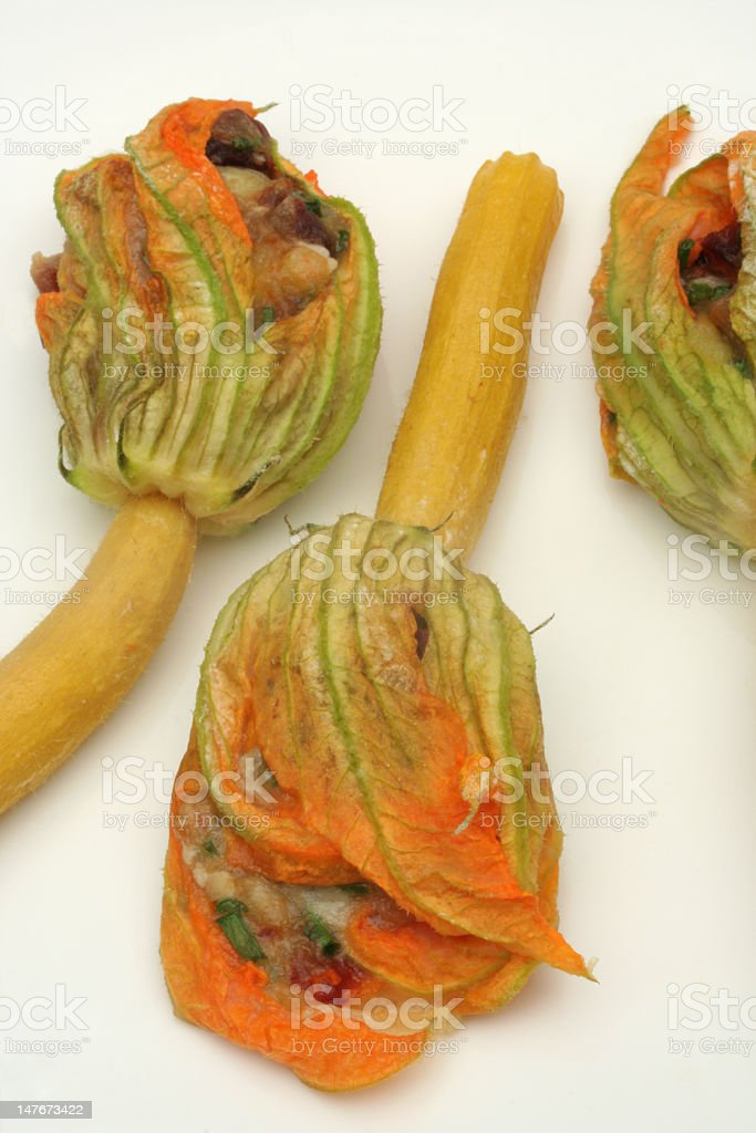 stuffed courgette flowers royalty-free stock photo
