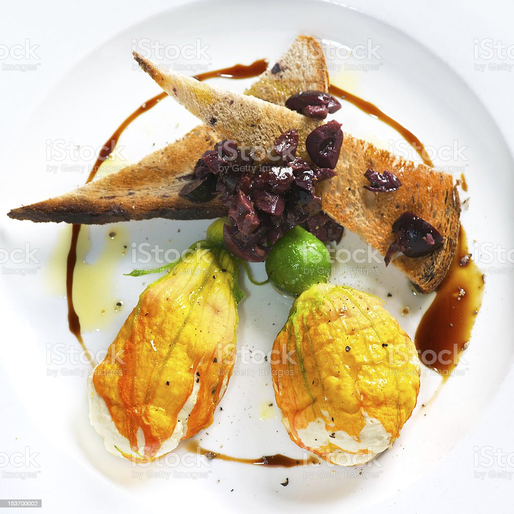 Stuffed Courgette Flowers. stock photo