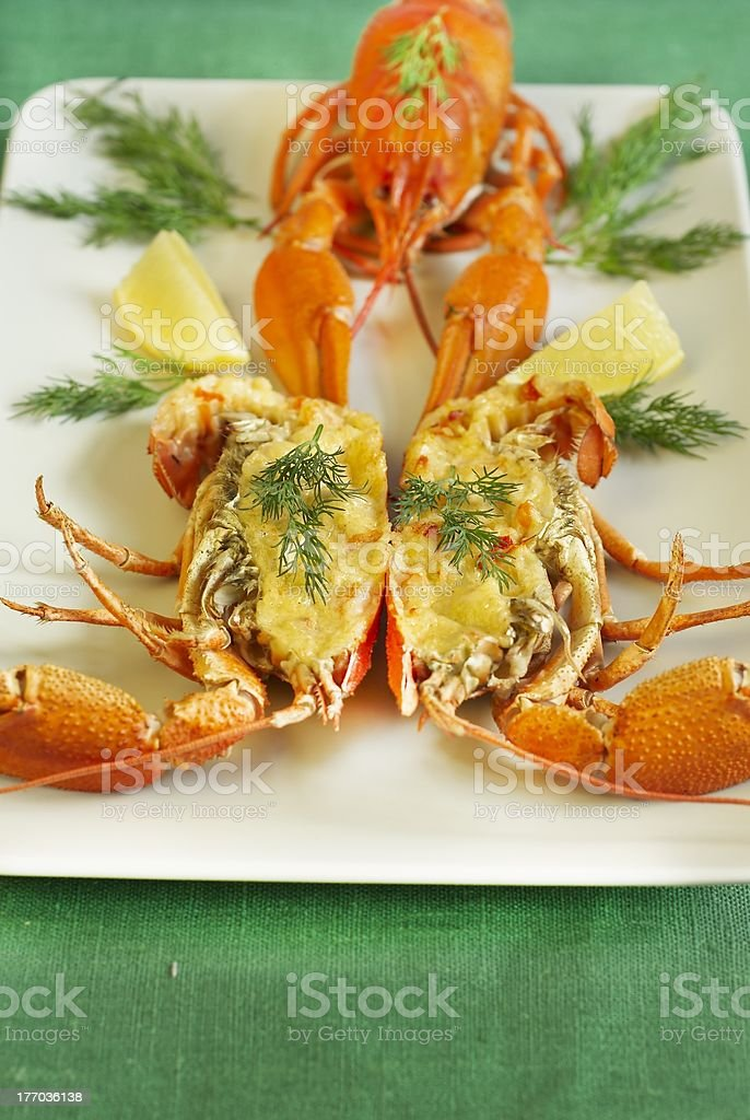 Stuffed crayfish with cheese and shrimps stock photo