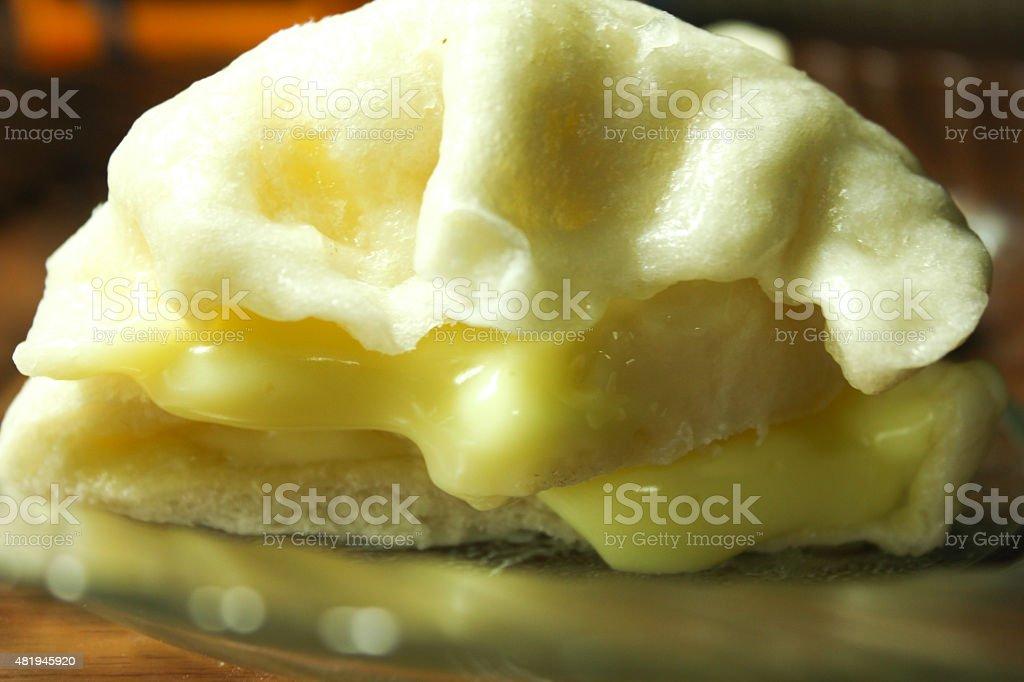Stuffed cream steamed Buns stock photo