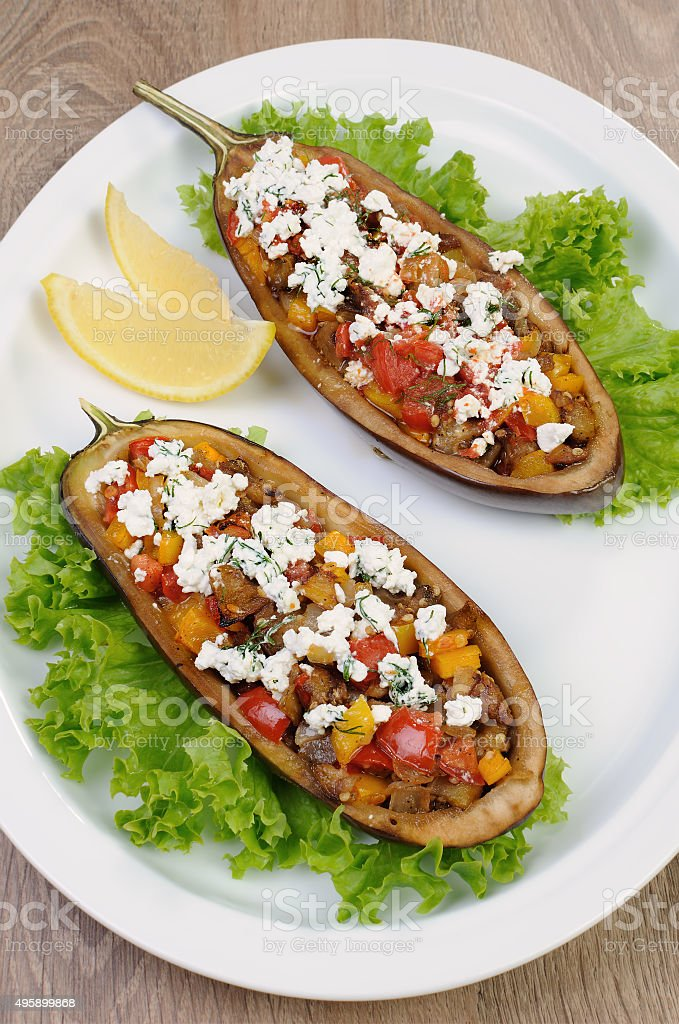 Stuffed eggplant with vegetables stock photo