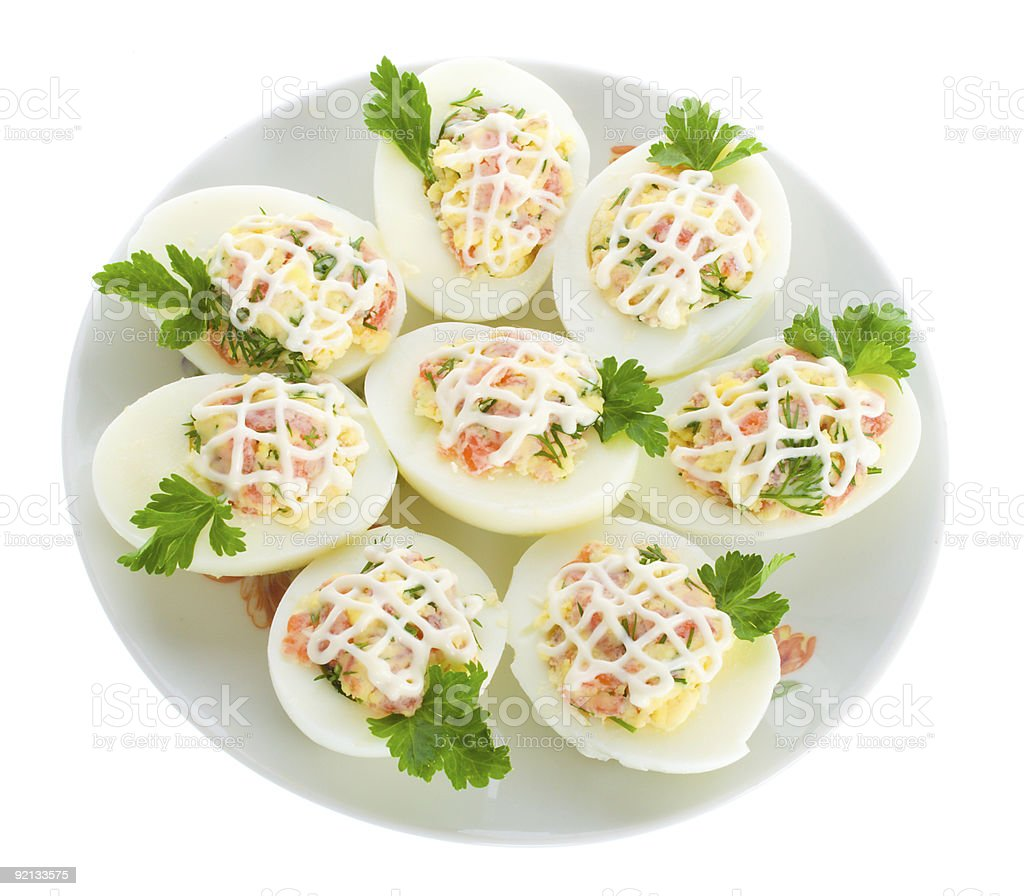 stuffed eggs with red fish royalty-free stock photo