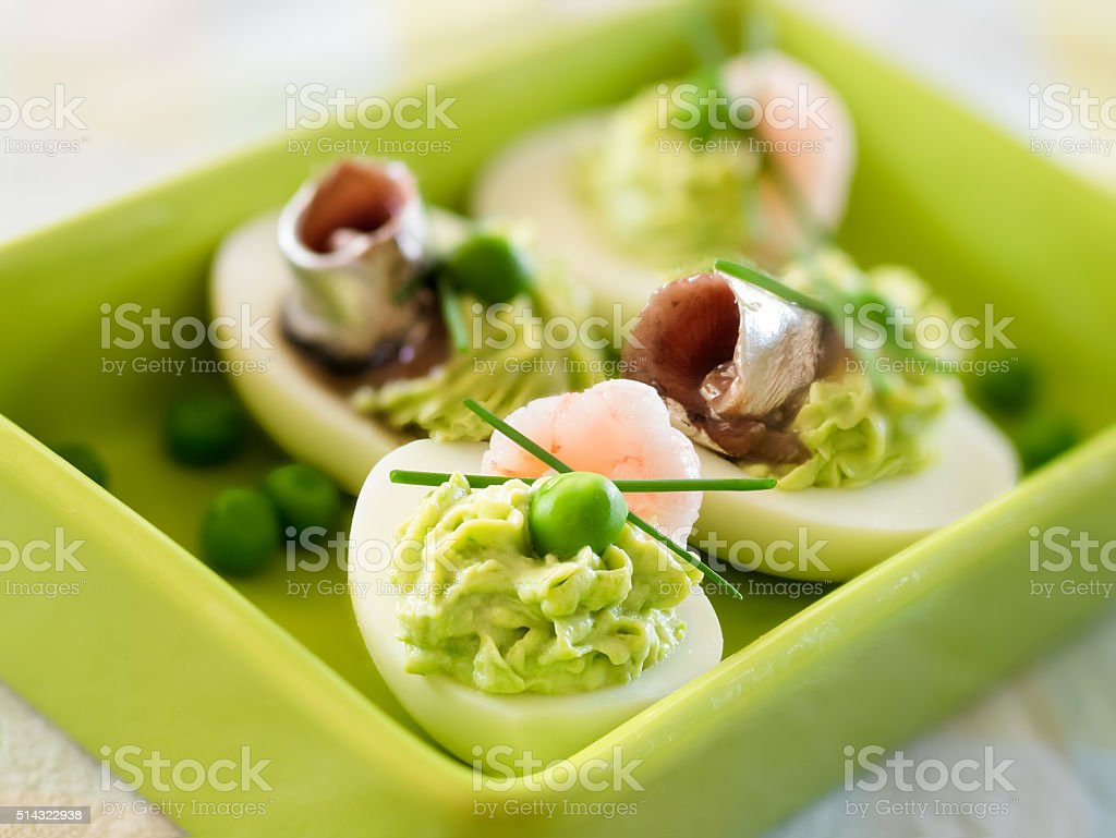 Stuffed eggs with Sprat royalty-free stock photo