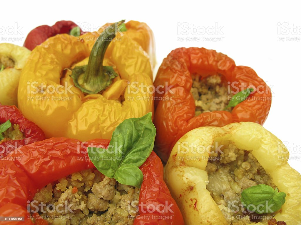 Stuffed green bell peppers with ground meat mince and rice royalty-free stock photo