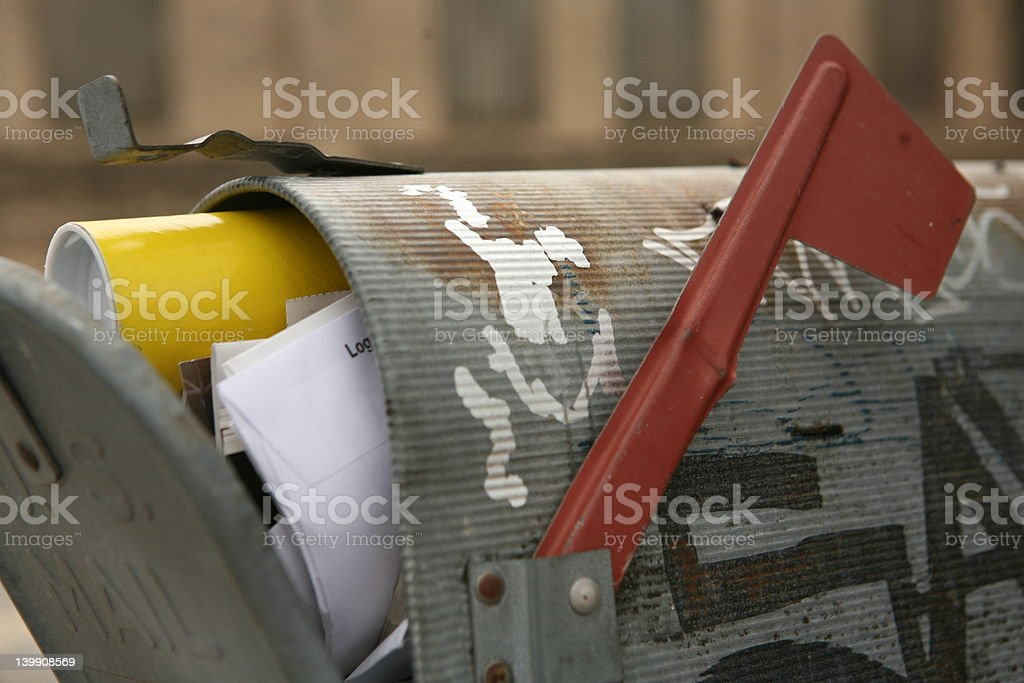 stuffed mailbox stock photo