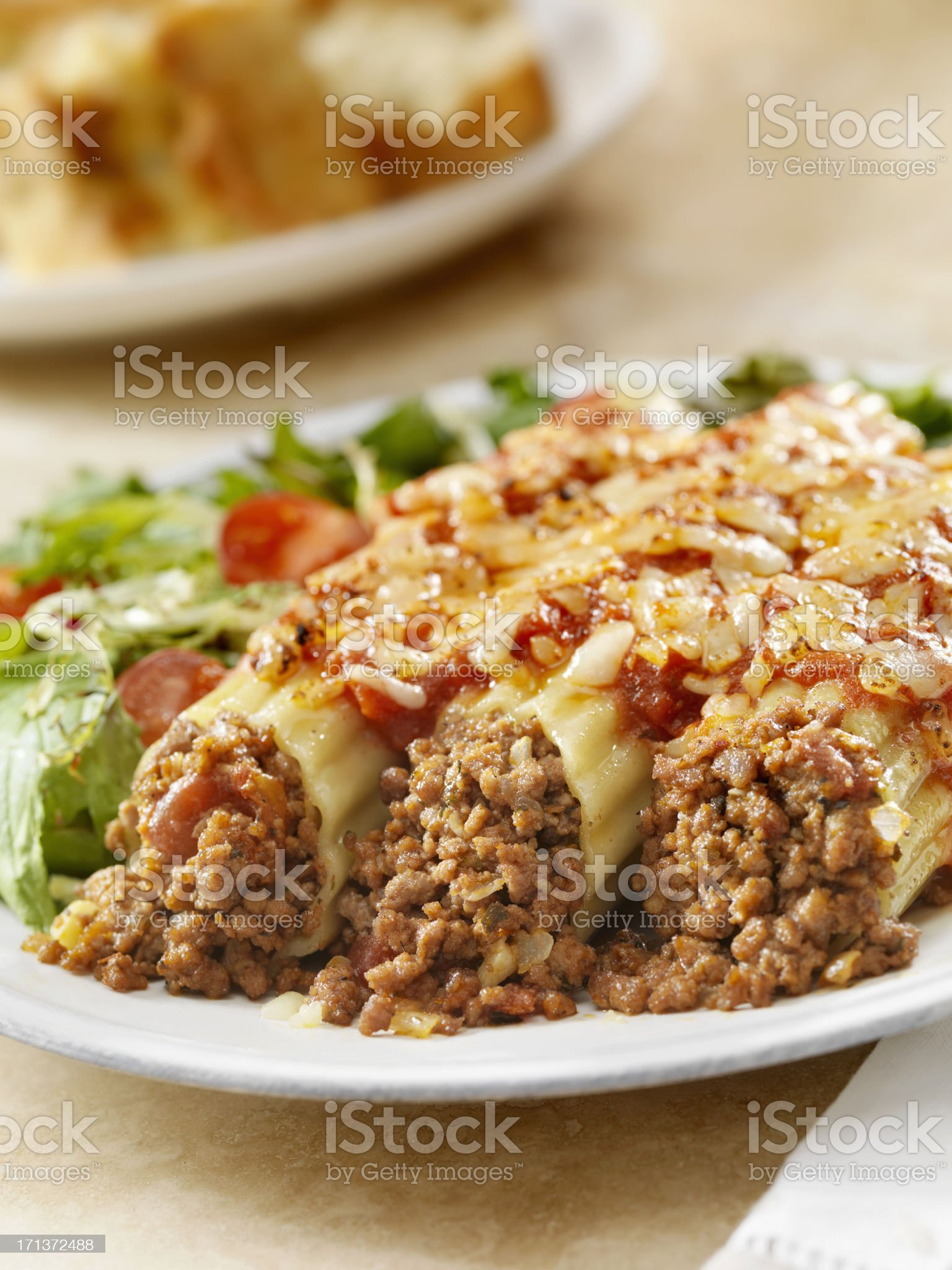 Stuffed Manicotti royalty-free stock photo