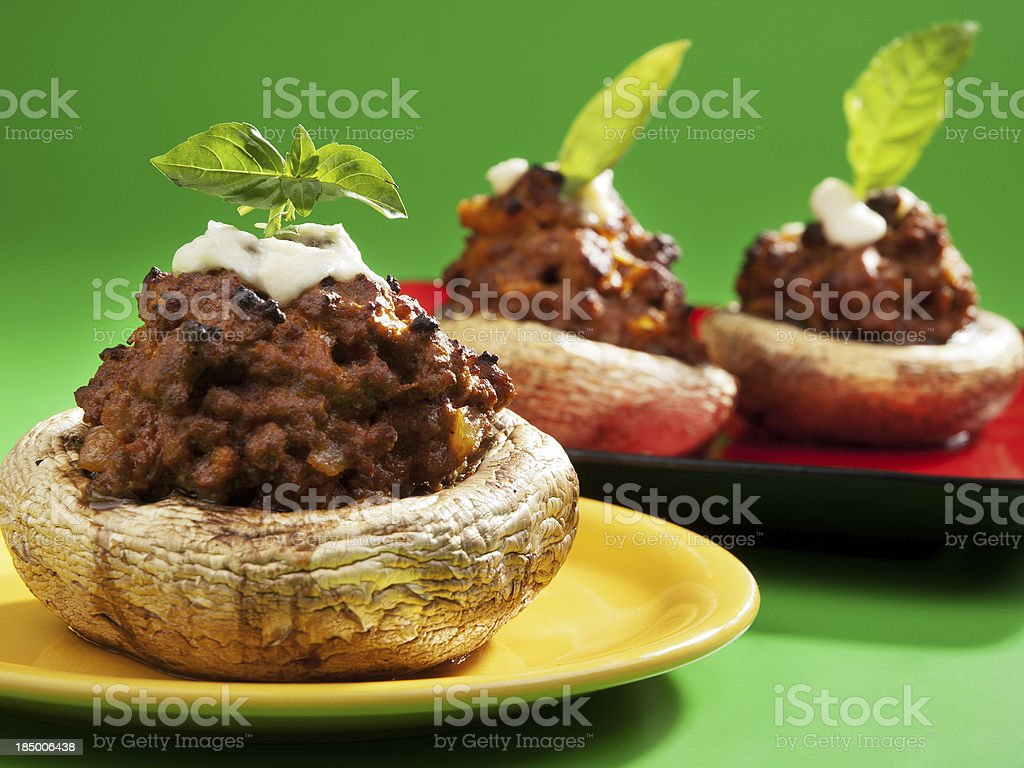 Stuffed mushrooms with meat and mozzarella royalty-free stock photo