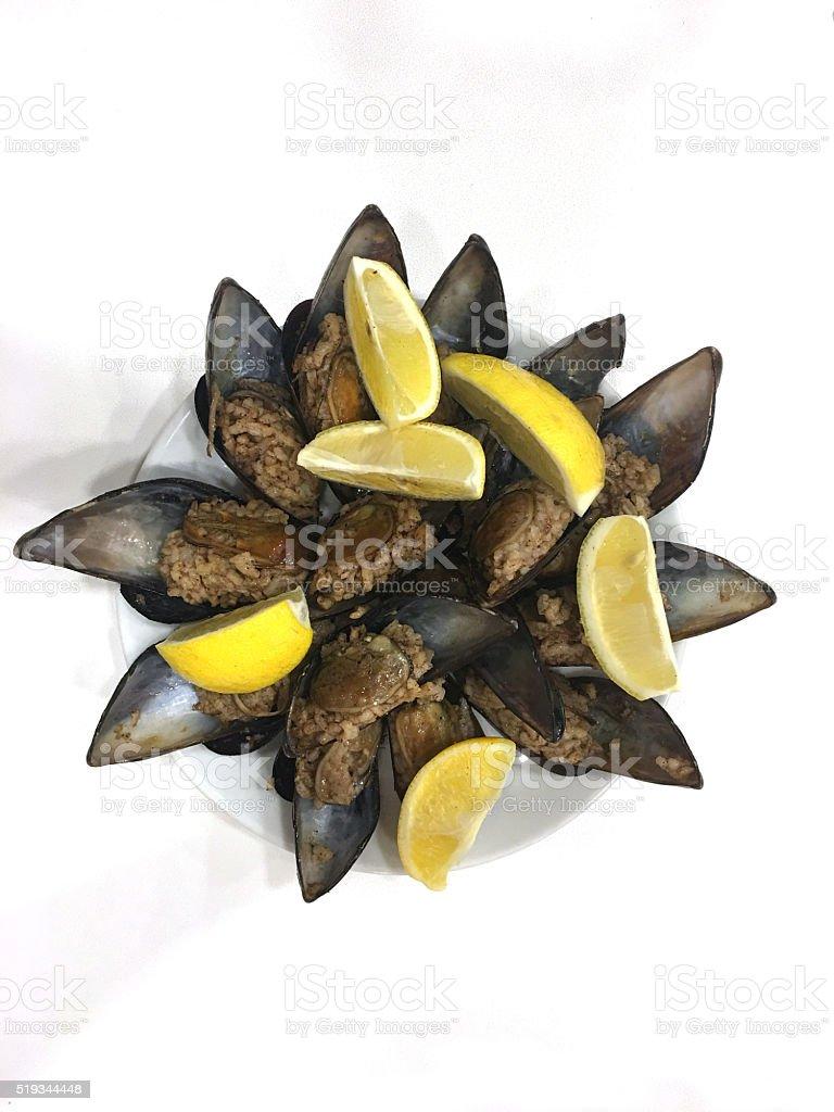 Stuffed mussels stock photo