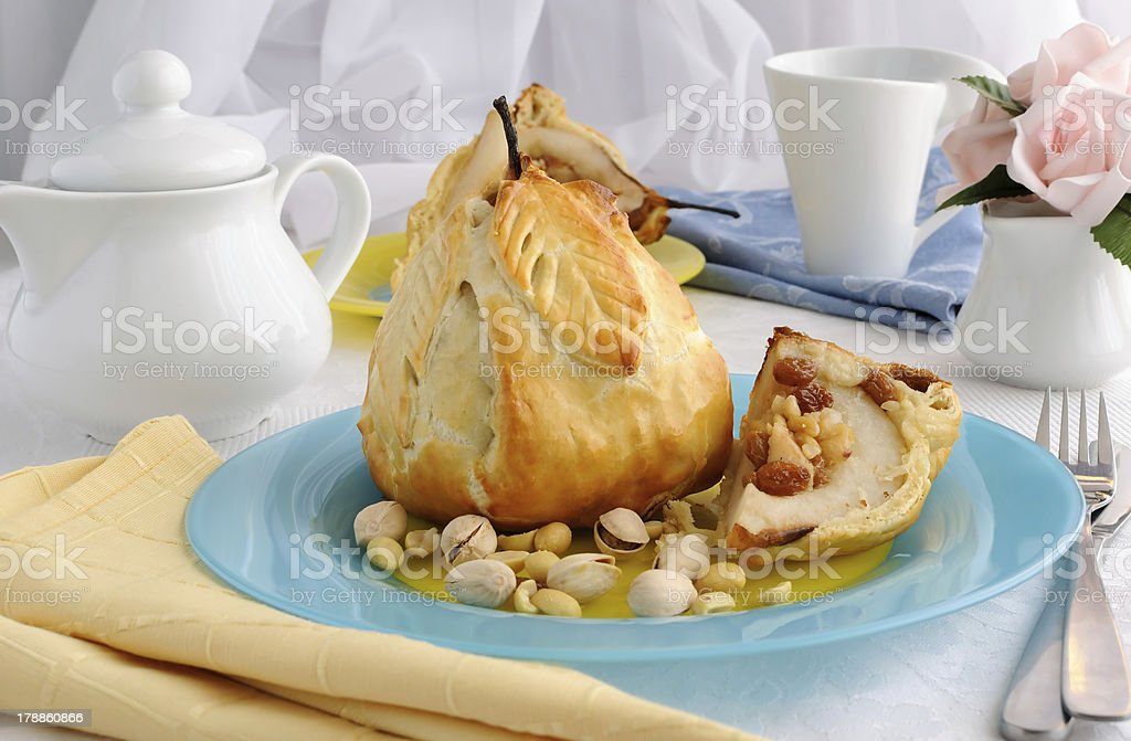 Stuffed  of nuts and raisins pear in the test royalty-free stock photo