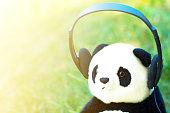 Stuffed panda wearing headphones.
