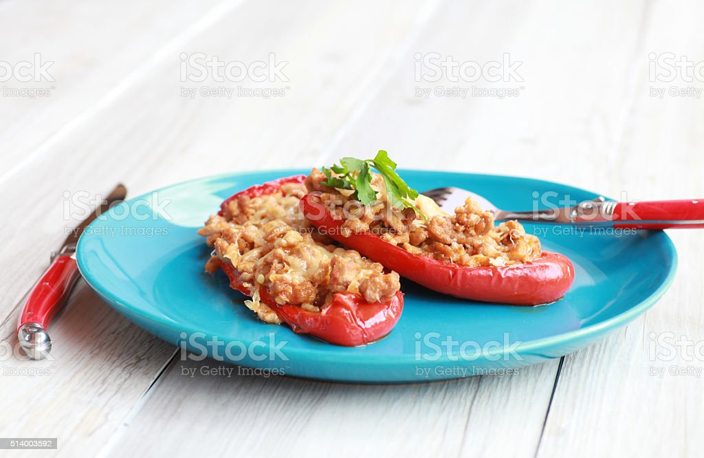 Stuffed pepper with ground meat and cheese stock photo