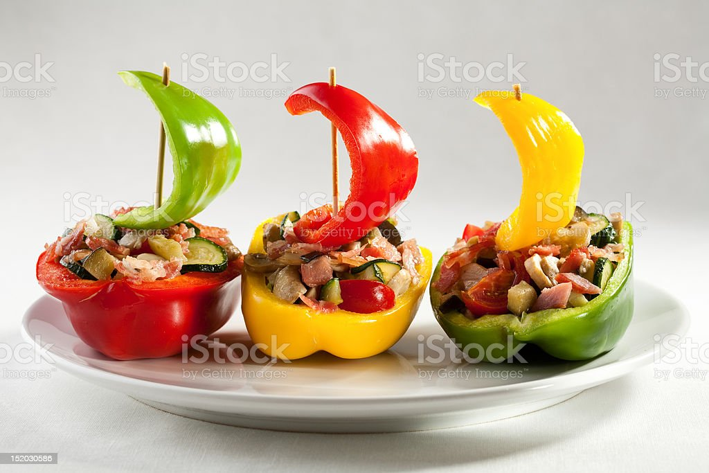 Stuffed pepper with meat and vegetables royalty-free stock photo