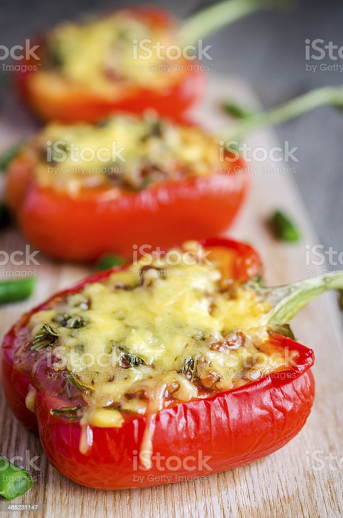Stuffed pepper with meat stock photo