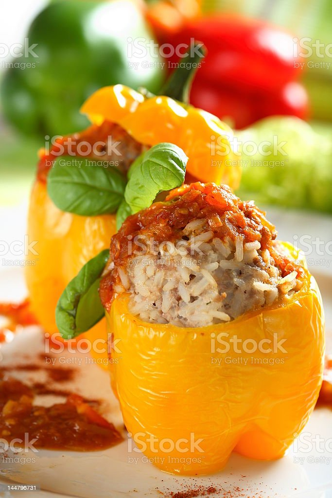 Stuffed pepper with rice royalty-free stock photo