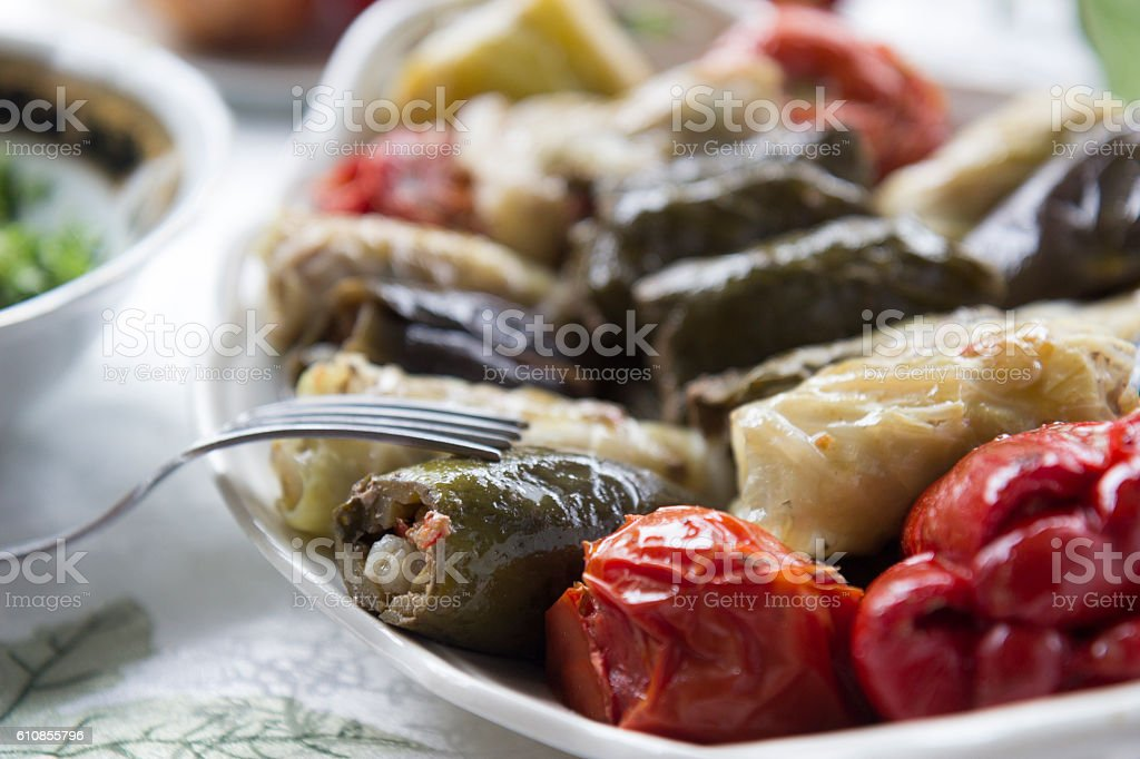 Stuffed peppers and other summer vegetables stock photo
