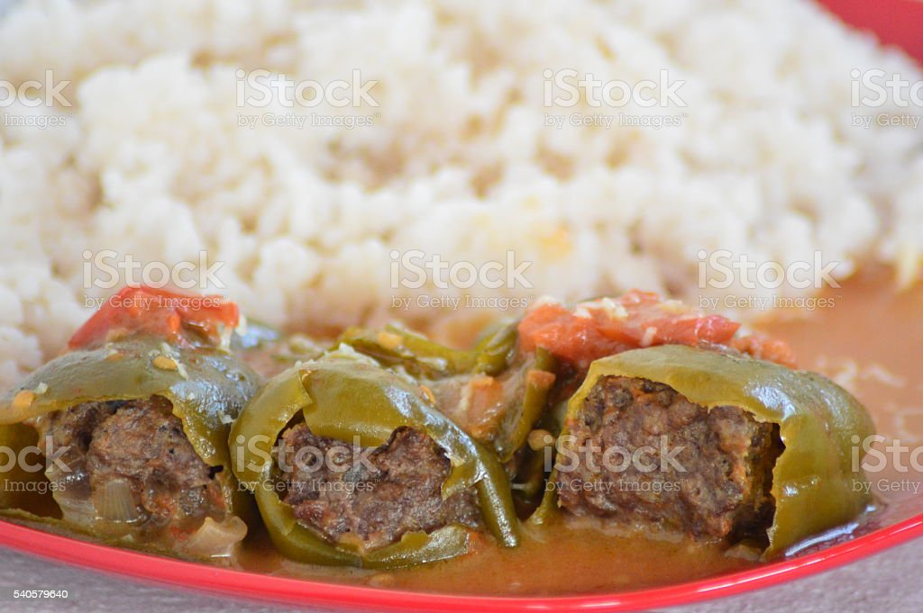 Poivrons et tomates farcies stock photo