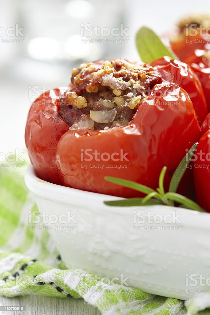 stuffed peppers with meat and bulgur stock photo