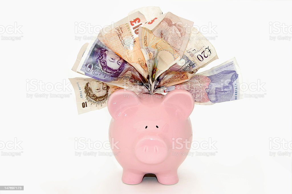 Stuffed piggybank stock photo