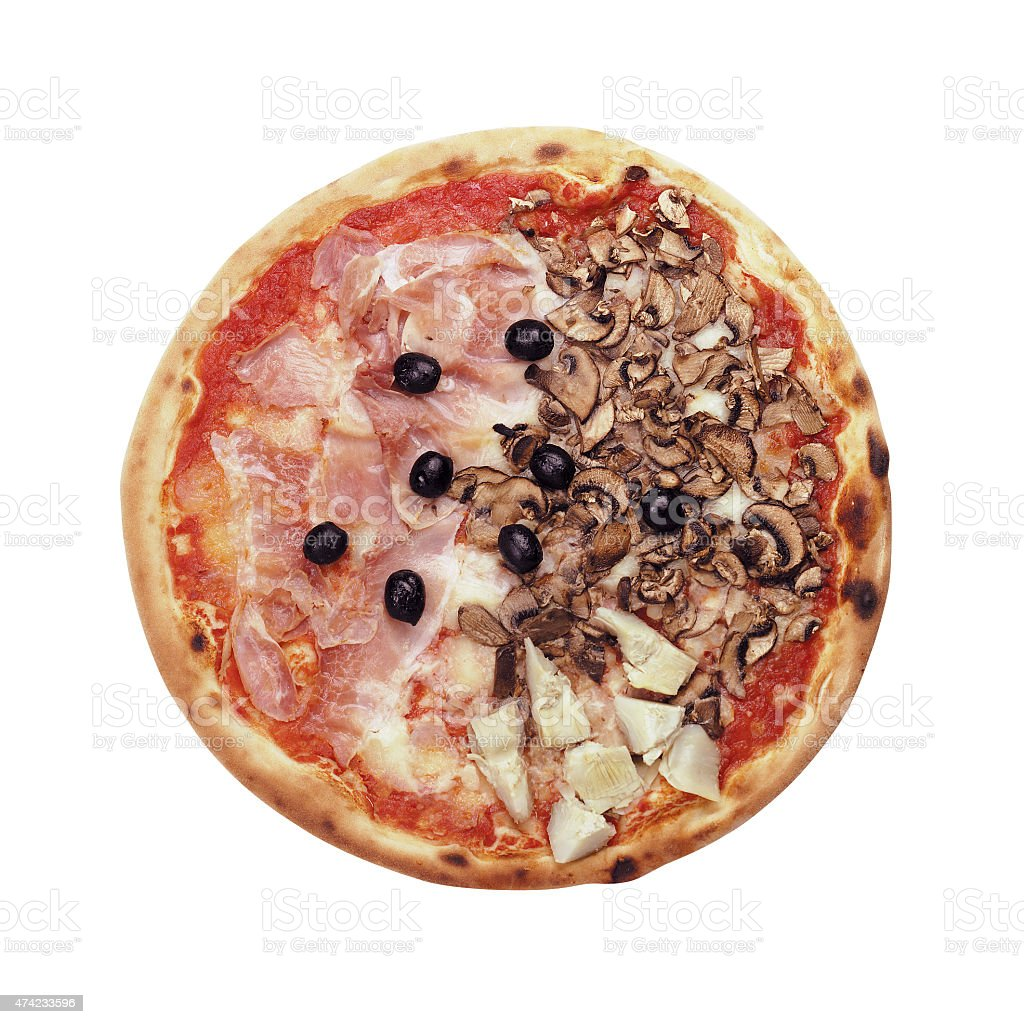 Stuffed pizza isolated stock photo