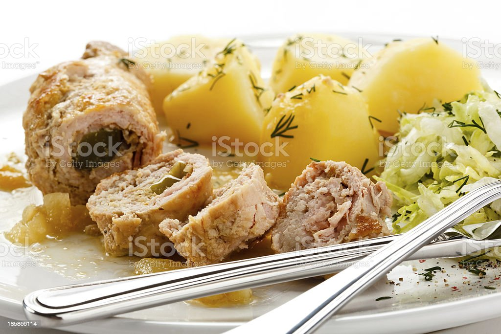 Stuffed pork chop and vegetables royalty-free stock photo