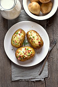 Stuffed potato with bacon and cheese