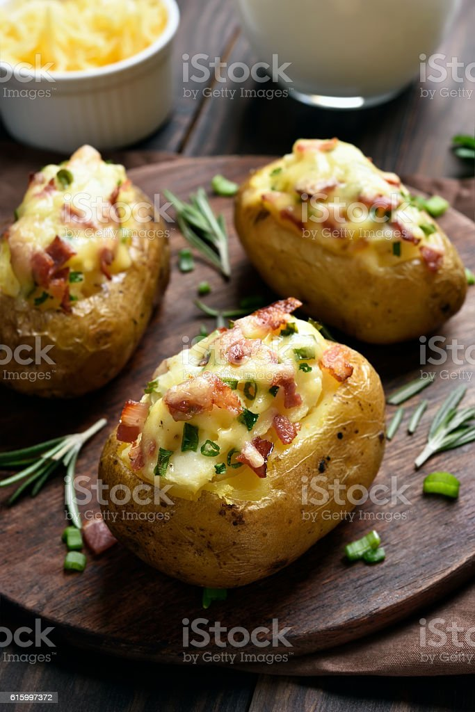 Stuffed potato with bacon stock photo