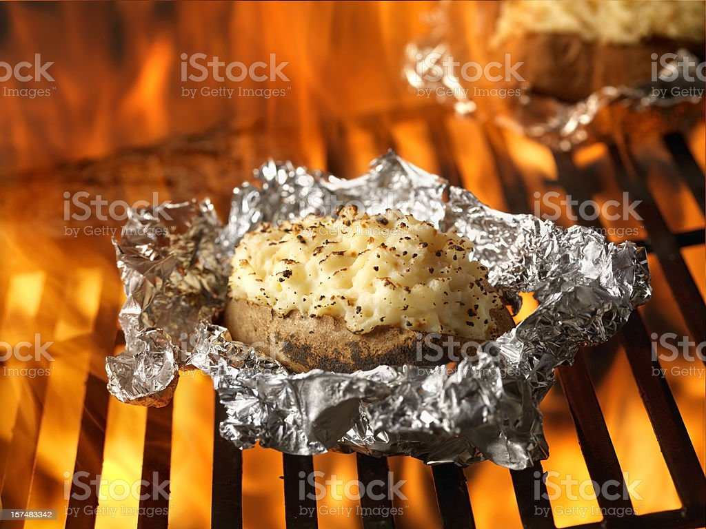 Stuffed Potatoes on the BBQ stock photo