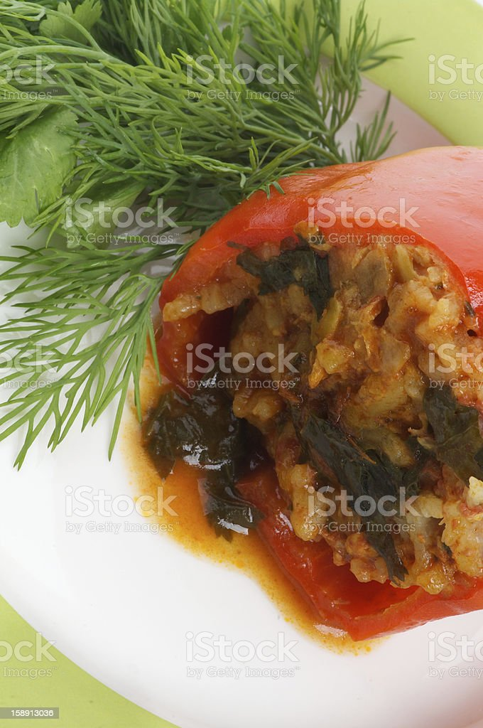 Stuffed Red Bell Pepper royalty-free stock photo