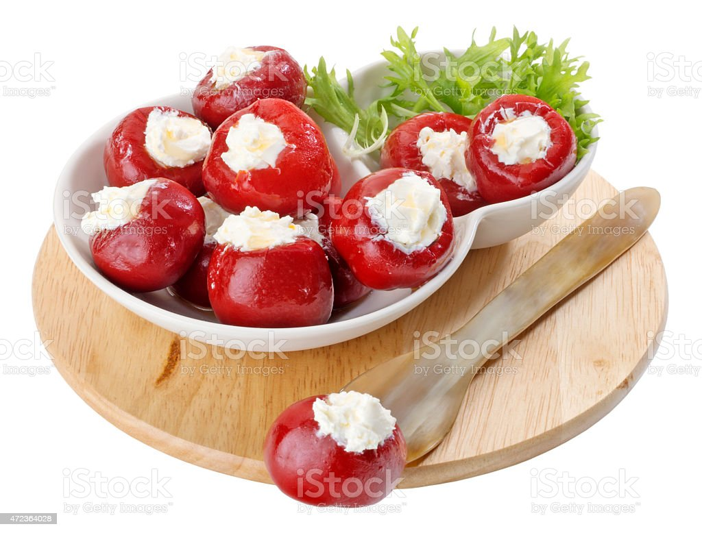 Stuffed Red Peppers stock photo