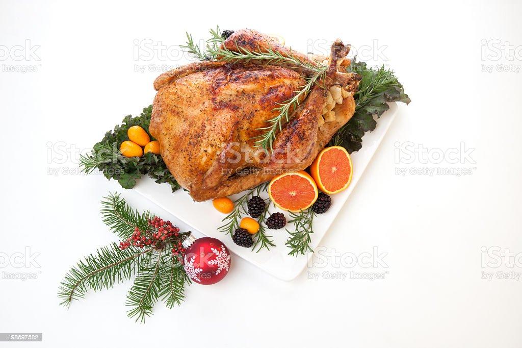 Stuffed Roasted Turkey on white stock photo