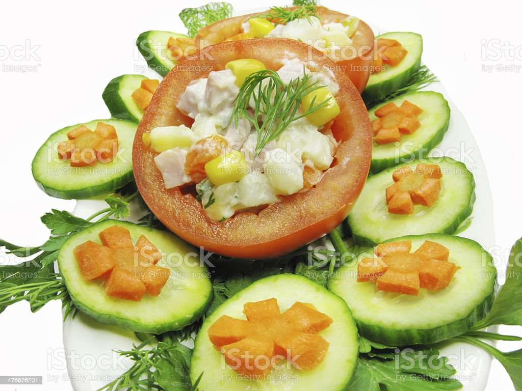 stuffed tomato with cucumber and carrot royalty-free stock photo