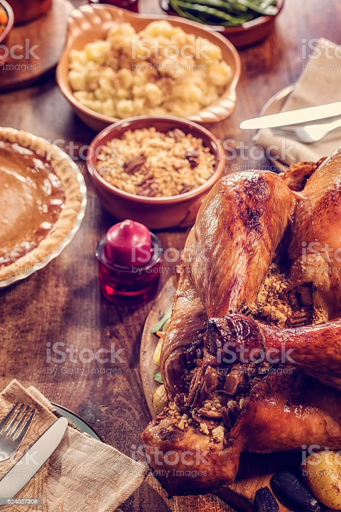 Stuffed Turkey and Pumpkin Pie stock photo