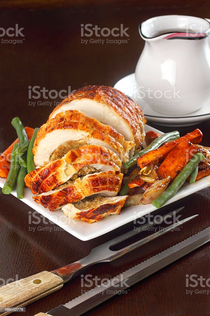 Stuffed turkey breast stock photo