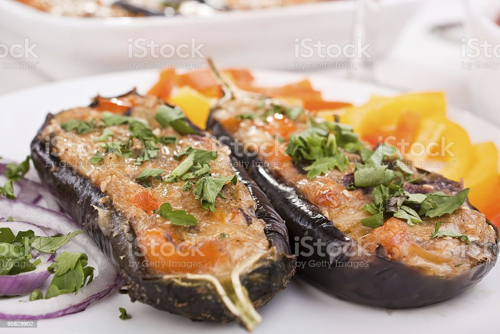 stuffed with cheese aubergines royalty-free stock photo