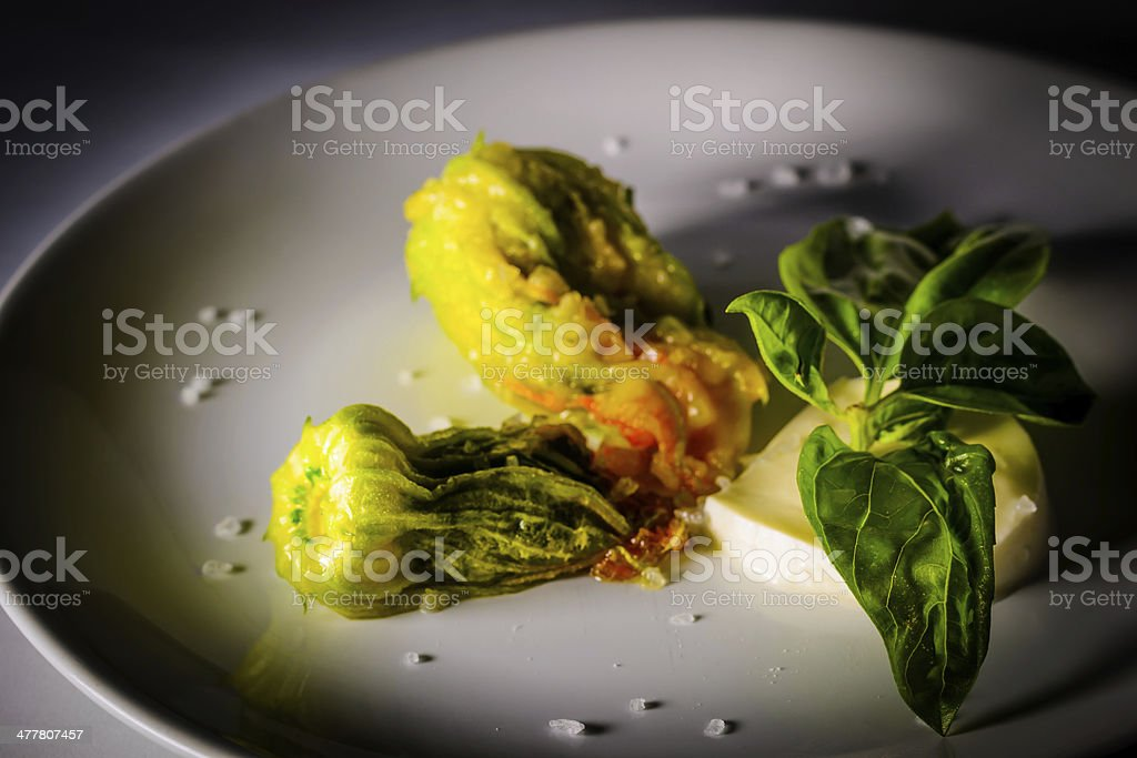 Stuffed zucchini flower. royalty-free stock photo