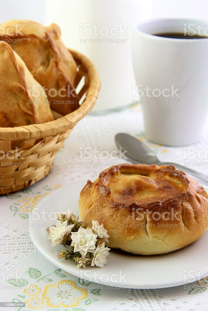 Stuffing pie and flower stock photo