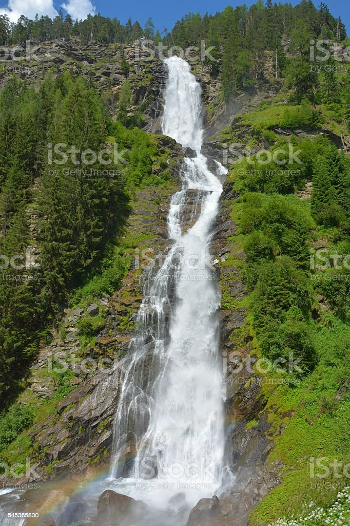 Stuibenfall waterfalll in Otztal, Austria. stock photo
