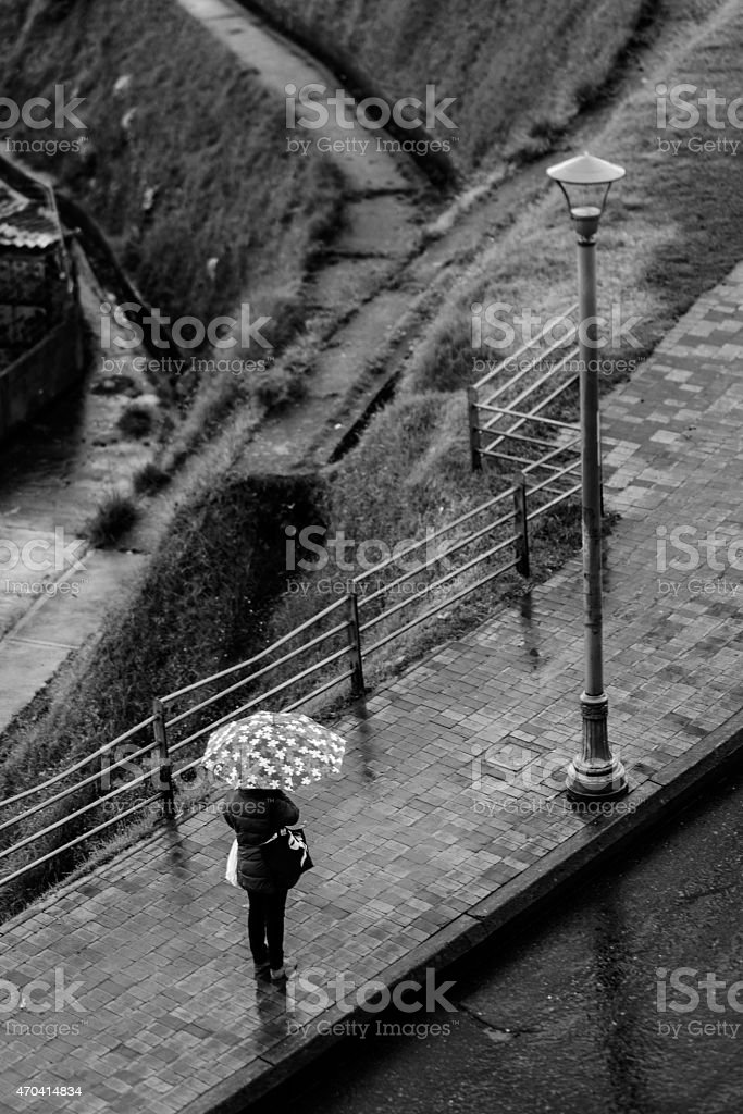Stuk in the rain stock photo