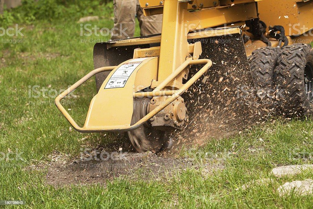 Stump Grinding Machine Removing Cut Tree royalty-free stock photo