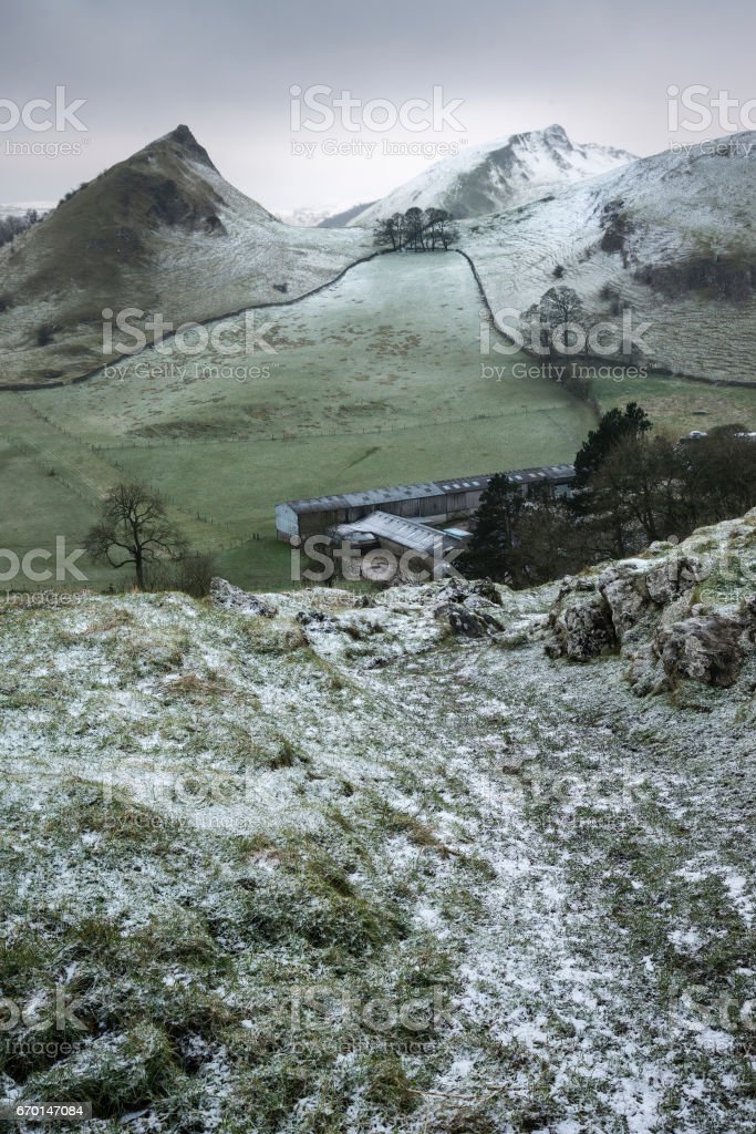Stuning Winter landscape image of Peak District England stock photo