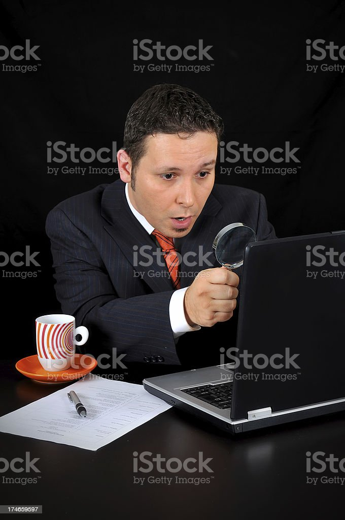 stunned businessman on the computer royalty-free stock photo