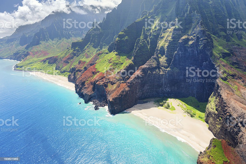 Stunning aerial view of Na Pali coast in Kauai Island stock photo