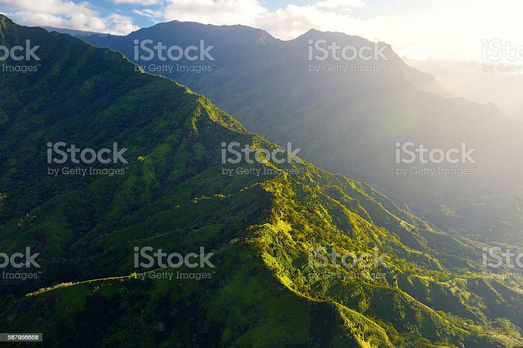 Stunning aerial view of spectacular jungles, Kauai stock photo