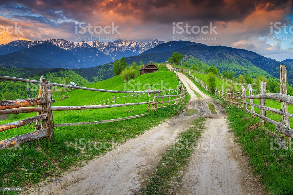 Stunning alpine rural landscape near Brasov,Transylvania,Romania,Europe stock photo